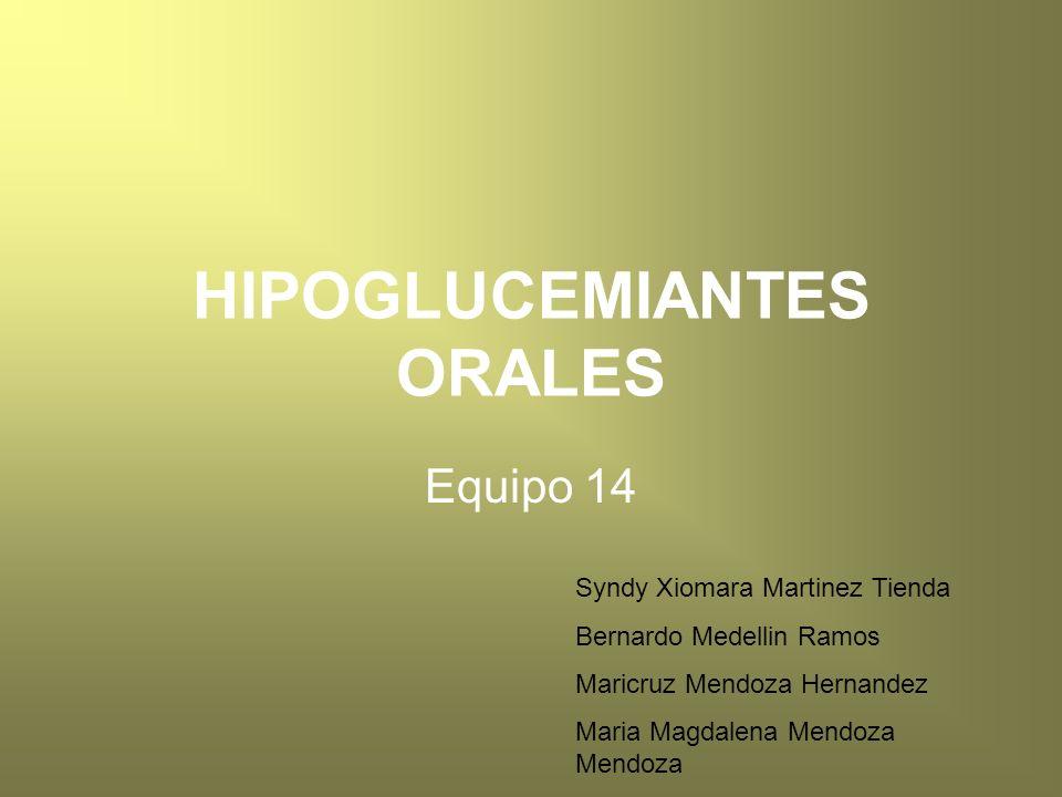Hipoglucemiantes orales -Secretagogos de insulina -Sulfonilureas -Meglitinidas -D-fenilalanina -Biguanidas -Tiazolidinedionas -Inhibidores de α glucosidasa -Metformina -Fenformina -Pioglitazona -Rosiglitazona -Acarbosa -Miglitol
