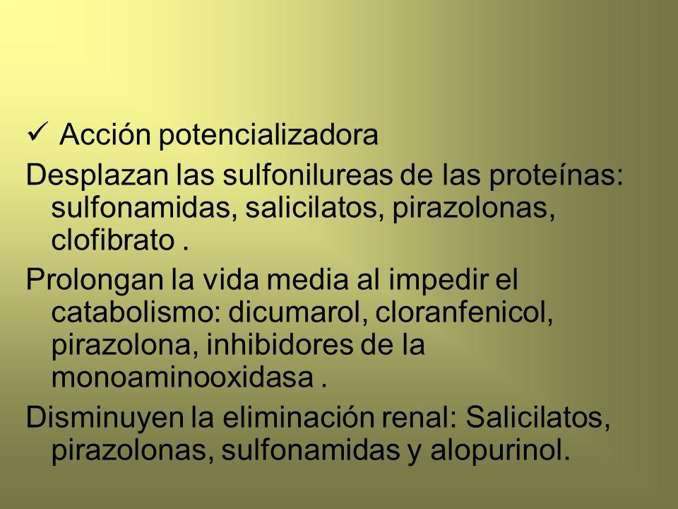 Acción potencializadora Desplazan las sulfonilureas de las proteínas: sulfonamidas, salicilatos, pirazolonas, clofibrato. Prolongan la vida media al i