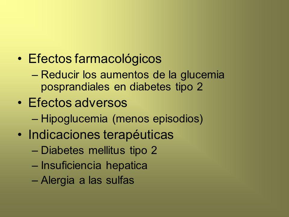 Efectos farmacológicos –Reducir los aumentos de la glucemia posprandiales en diabetes tipo 2 Efectos adversos –Hipoglucemia (menos episodios) Indicaci