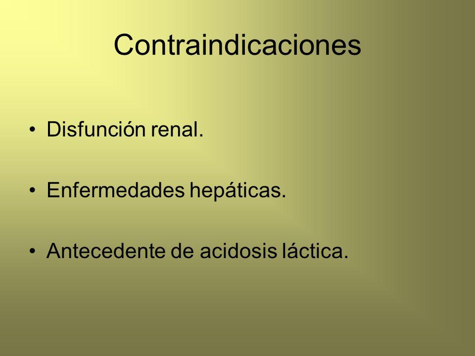 Contraindicaciones Disfunción renal. Enfermedades hepáticas. Antecedente de acidosis láctica.