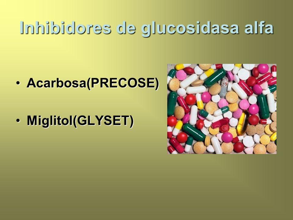 Inhibidores de glucosidasa alfa Acarbosa(PRECOSE)Acarbosa(PRECOSE) Miglitol(GLYSET)Miglitol(GLYSET)