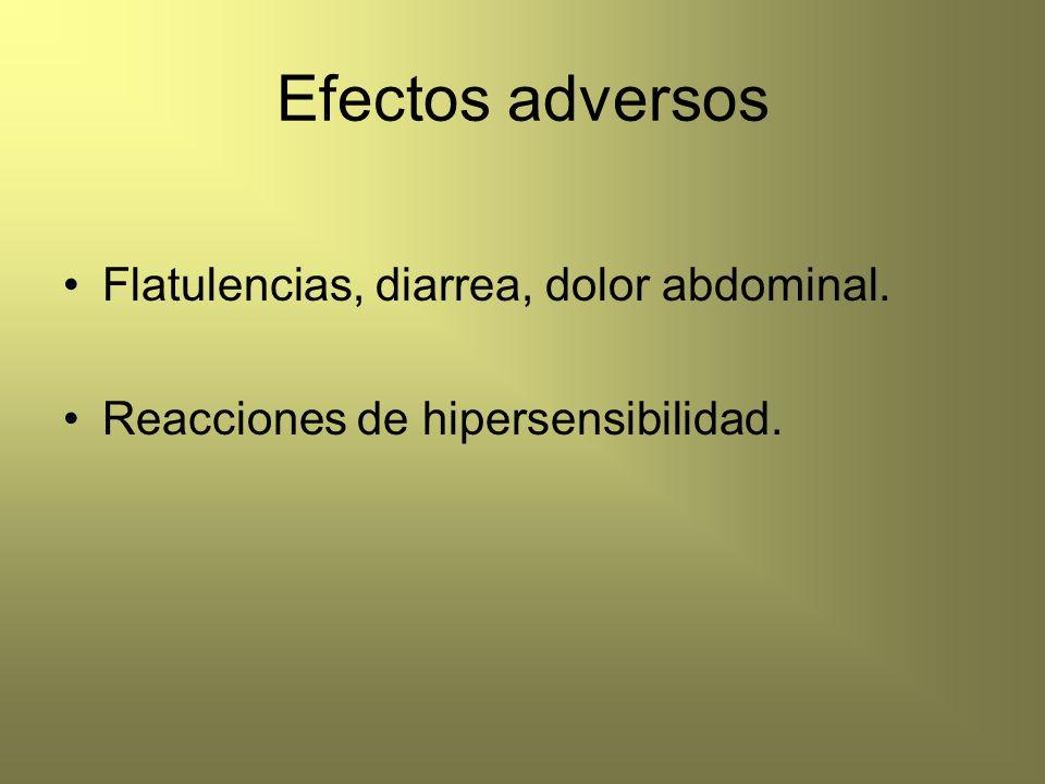 Efectos adversos Flatulencias, diarrea, dolor abdominal. Reacciones de hipersensibilidad.