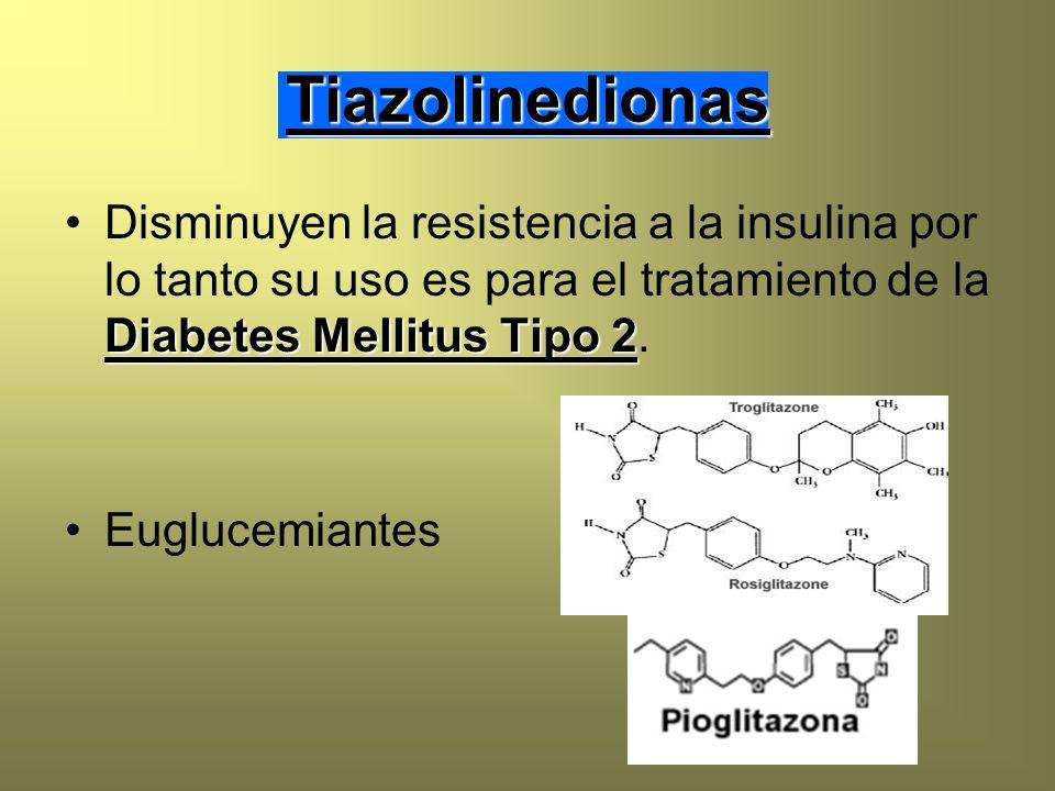 Tiazolinedionas Diabetes Mellitus Tipo 2Disminuyen la resistencia a la insulina por lo tanto su uso es para el tratamiento de la Diabetes Mellitus Tip