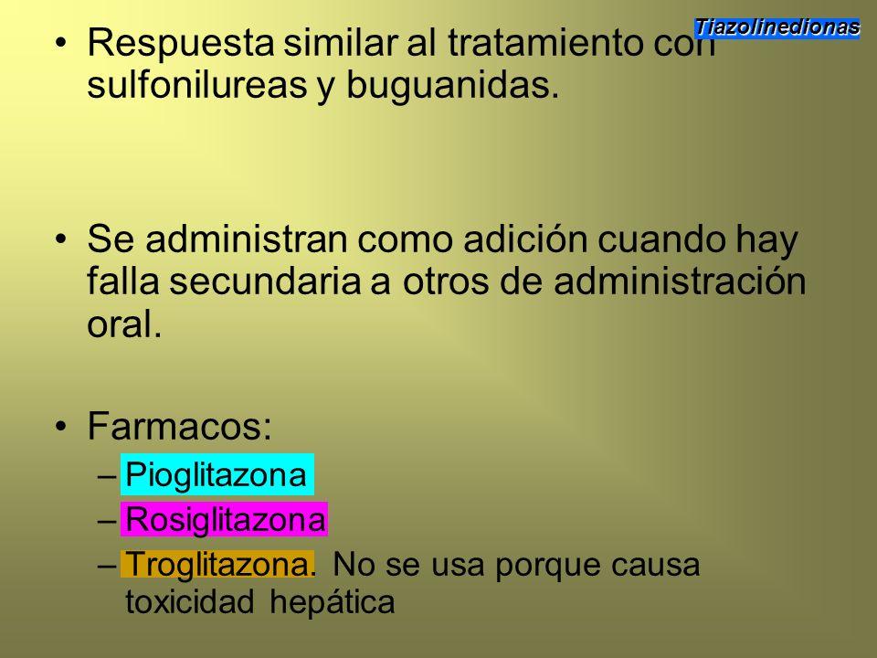Respuesta similar al tratamiento con sulfonilureas y buguanidas. Se administran como adición cuando hay falla secundaria a otros de administración ora