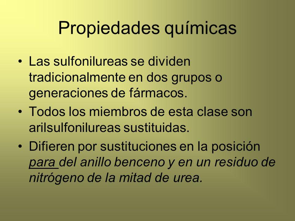 Propiedades químicas Las sulfonilureas se dividen tradicionalmente en dos grupos o generaciones de fármacos. Todos los miembros de esta clase son aril