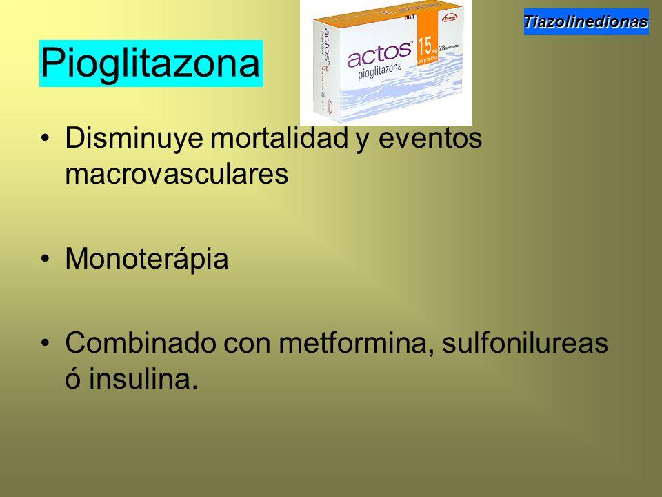 Disminuye mortalidad y eventos macrovasculares Monoterápia Combinado con metformina, sulfonilureas ó insulina. Pioglitazona Tiazolinedionas