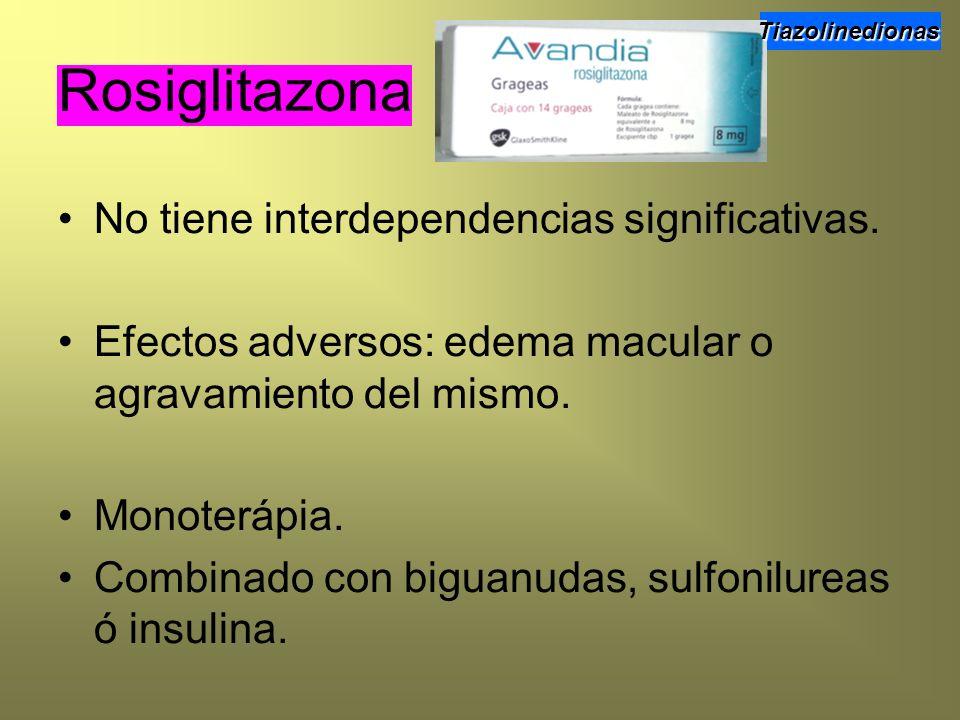 No tiene interdependencias significativas. Efectos adversos: edema macular o agravamiento del mismo. Monoterápia. Combinado con biguanudas, sulfonilur