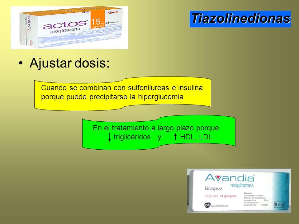 Ajustar dosis: Tiazolinedionas Cuando se combinan con sulfonilureas e insulina porque puede precipitarse la hiperglucemia En el tratamiento a largo pl