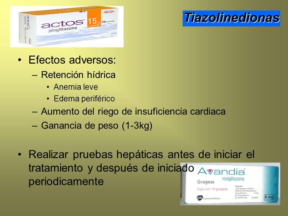 Efectos adversos: –Retención hídrica Anemia leve Edema periférico –Aumento del riego de insuficiencia cardiaca –Ganancia de peso (1-3kg) Realizar prue