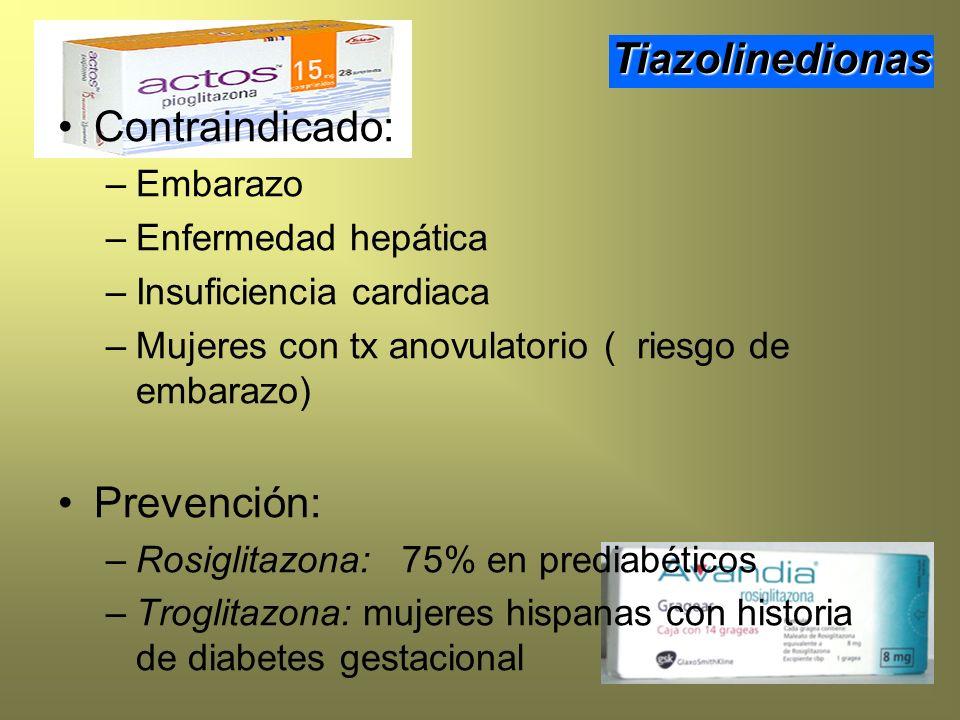 Contraindicado: –Embarazo –Enfermedad hepática –Insuficiencia cardiaca –Mujeres con tx anovulatorio ( riesgo de embarazo) Prevención: –Rosiglitazona: