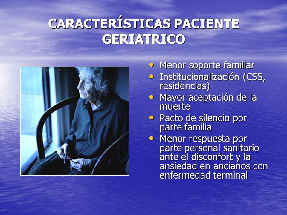 CARACTERÍSTICAS PACIENTE GERIATRICO Menor soporte familiar Menor soporte familiar Institucionalización (CSS, residencias) Institucionalización (CSS, r