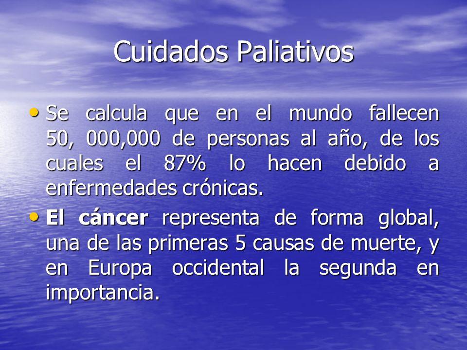 Cuidados Paliativos Se calcula que en el mundo fallecen 50, 000,000 de personas al año, de los cuales el 87% lo hacen debido a enfermedades crónicas.