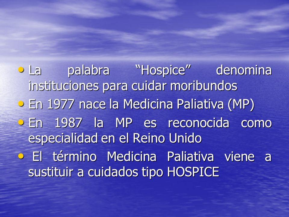 La palabra Hospice denomina instituciones para cuidar moribundos La palabra Hospice denomina instituciones para cuidar moribundos En 1977 nace la Medi