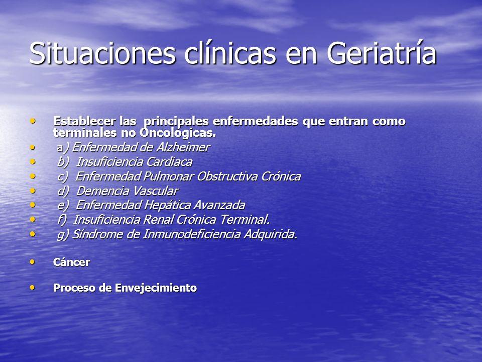 Situaciones clínicas en Geriatría Establecer las principales enfermedades que entran como terminales no Oncológicas. Establecer las principales enferm