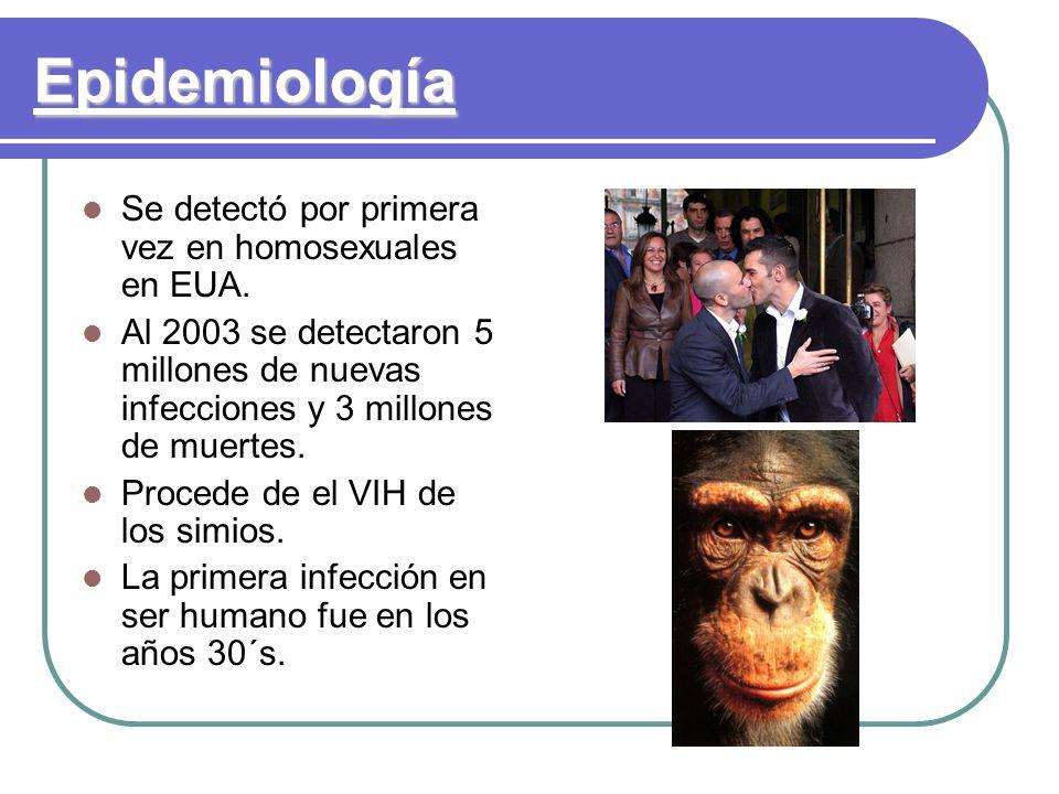 Epidemiología Se detectó por primera vez en homosexuales en EUA. Al 2003 se detectaron 5 millones de nuevas infecciones y 3 millones de muertes. Proce