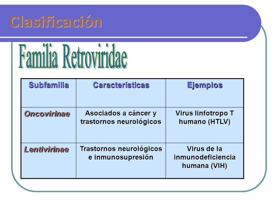ClasificaciónSubfamiliaCaracterísticasEjemplosOncovirinae Asociados a cáncer y trastornos neurológicos Virus linfotropo T humano (HTLV) Lentivirinae T