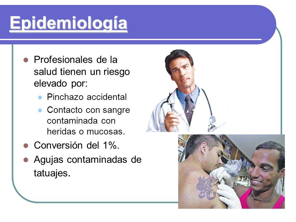Epidemiología Profesionales de la salud tienen un riesgo elevado por: Pinchazo accidental Contacto con sangre contaminada con heridas o mucosas. Conve