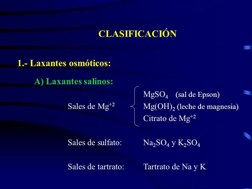 CLASIFICACIÓN 1.- Laxantes osmóticos: A) Laxantes salinos: MgSO 4 (sal de Epson) Sales de Mg +2 Mg(OH) 2 (leche de magnesia) Citrato de Mg +2 Sales de