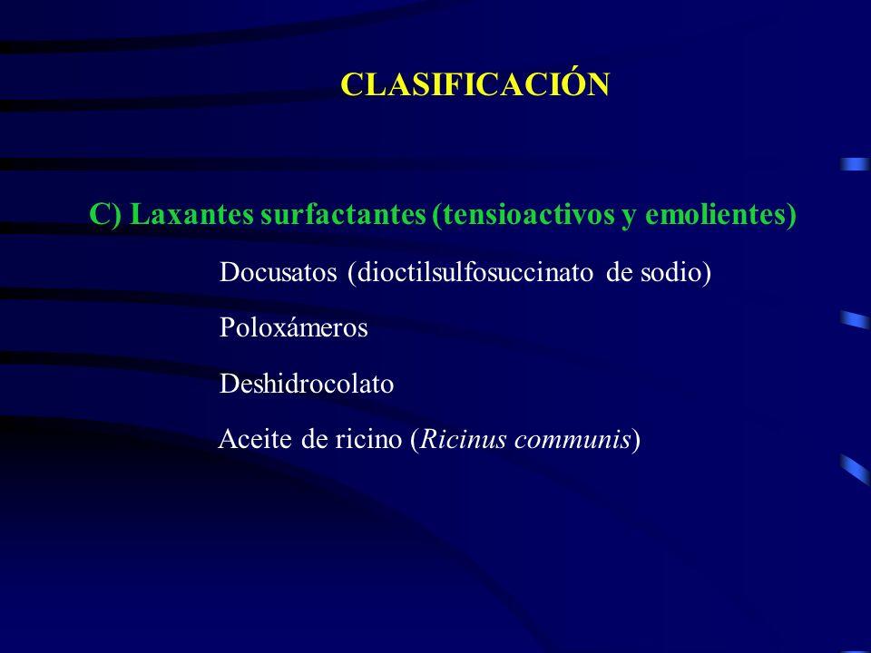 CLASIFICACIÓN C) Laxantes surfactantes (tensioactivos y emolientes) Docusatos (dioctilsulfosuccinato de sodio) Poloxámeros Deshidrocolato Aceite de ri