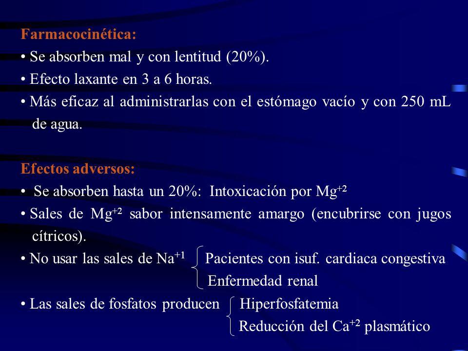 Farmacocinética: Se absorben mal y con lentitud (20%). Efecto laxante en 3 a 6 horas. Más eficaz al administrarlas con el estómago vacío y con 250 mL