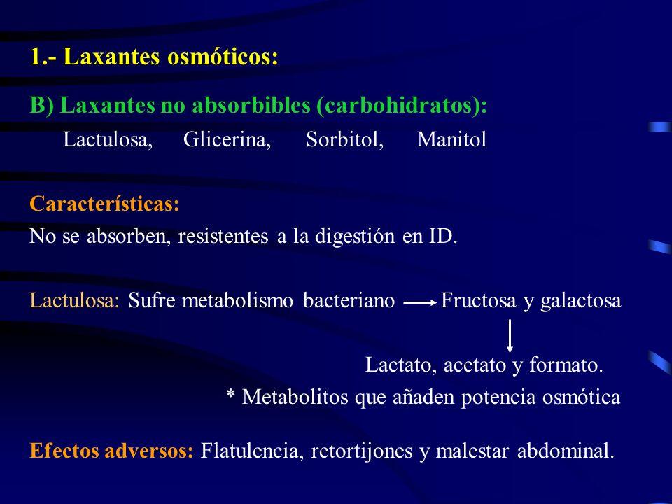 1.- Laxantes osmóticos: B) Laxantes no absorbibles (carbohidratos): Lactulosa, Glicerina, Sorbitol, Manitol Características: No se absorben, resistent