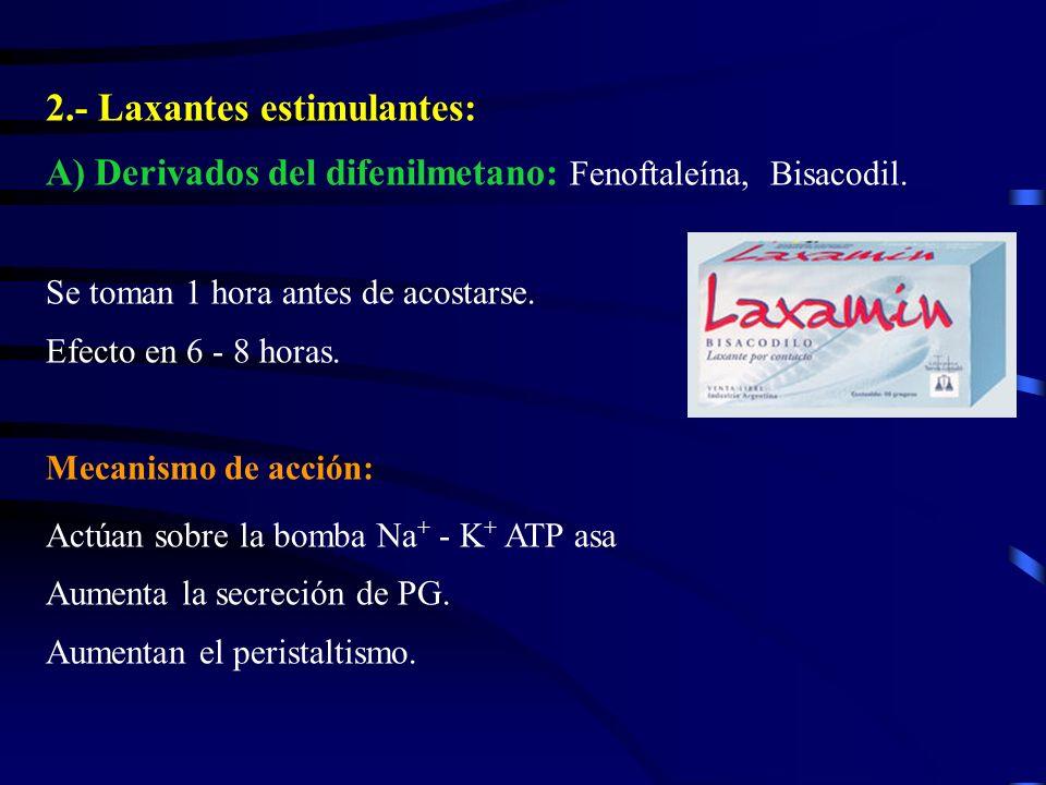 2.- Laxantes estimulantes: A) Derivados del difenilmetano: Fenoftaleína, Bisacodil. Se toman 1 hora antes de acostarse. Efecto en 6 - 8 horas. Mecanis