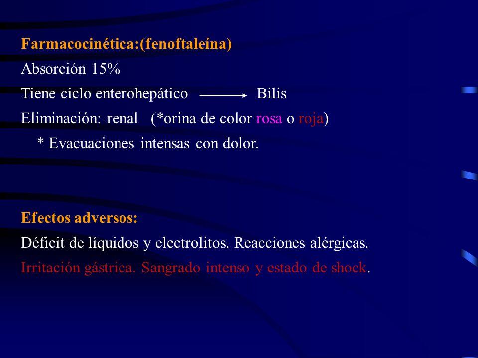 Farmacocinética:(fenoftaleína) Absorción 15% Tiene ciclo enterohepático Bilis Eliminación: renal (*orina de color rosa o roja) * Evacuaciones intensas