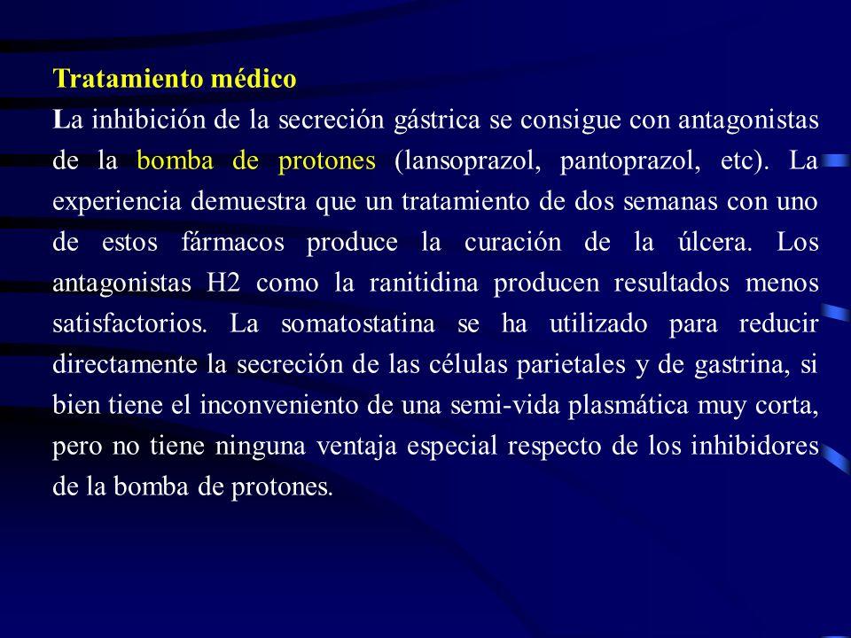 Tratamiento médico La inhibición de la secreción gástrica se consigue con antagonistas de la bomba de protones (lansoprazol, pantoprazol, etc). La exp