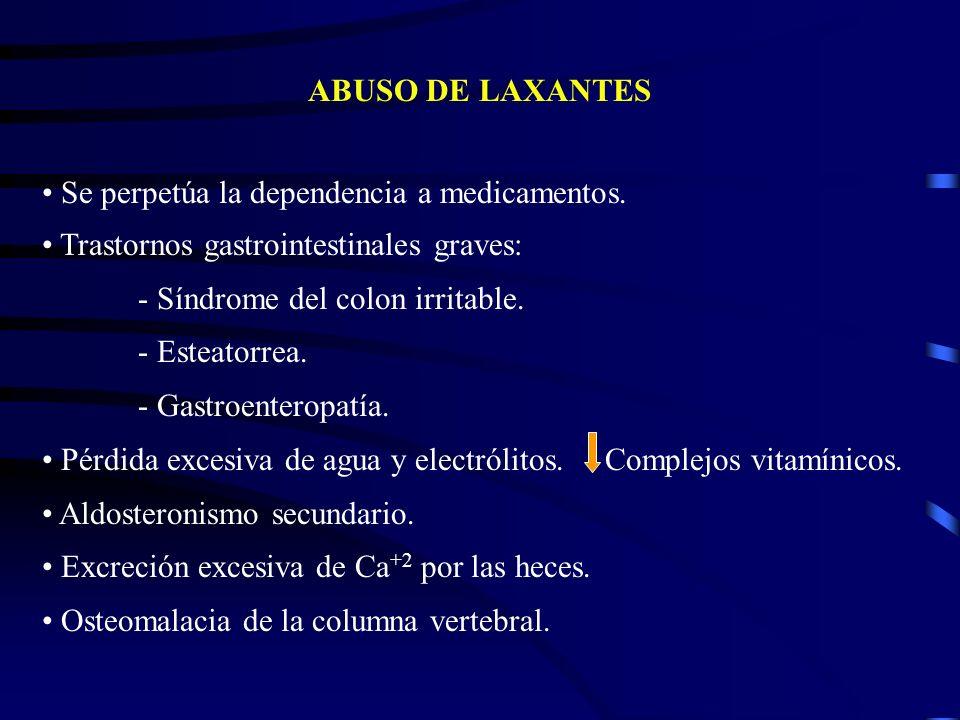 ABUSO DE LAXANTES Se perpetúa la dependencia a medicamentos. Trastornos gastrointestinales graves: - Síndrome del colon irritable. - Esteatorrea. - Ga