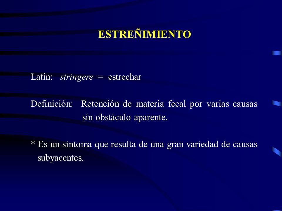 ESTREÑIMIENTO Latin: stringere = estrechar Definición: Retención de materia fecal por varias causas sin obstáculo aparente. * Es un síntoma que result