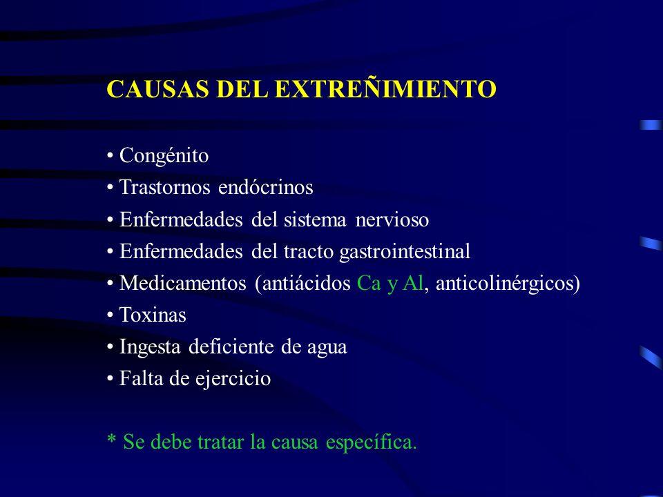 CAUSAS DEL EXTREÑIMIENTO Congénito Trastornos endócrinos Enfermedades del sistema nervioso Enfermedades del tracto gastrointestinal Medicamentos (anti