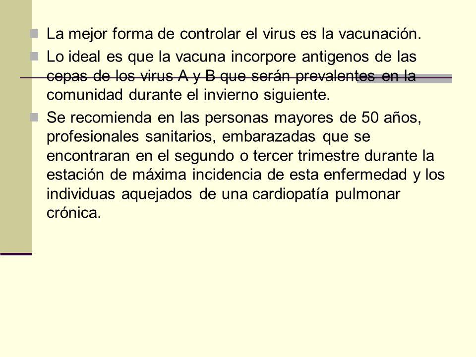 La mejor forma de controlar el virus es la vacunación. Lo ideal es que la vacuna incorpore antigenos de las cepas de los virus A y B que serán prevale