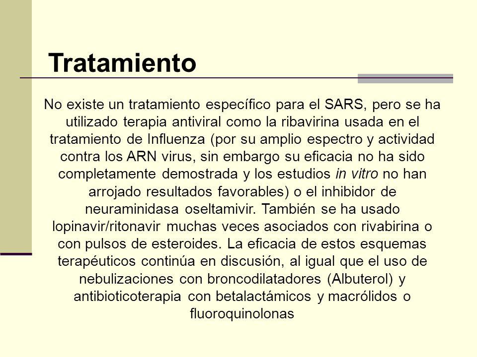 No existe un tratamiento específico para el SARS, pero se ha utilizado terapia antiviral como la ribavirina usada en el tratamiento de Influenza (por