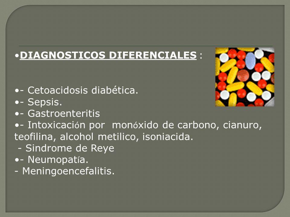 DIAGNOSTICOS DIFERENCIALES : - Cetoacidosis diabética. - Sepsis. - Gastroenteritis - Intoxicaci ó n por mon ó xido de carbono, cianuro, teofilina, alc