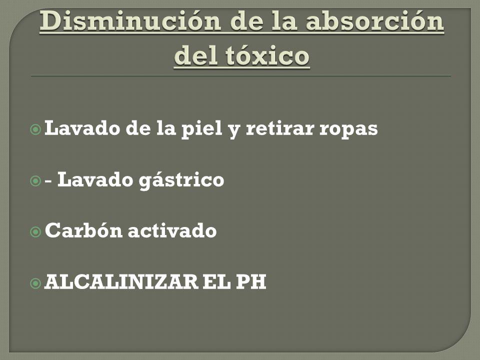 Lavado de la piel y retirar ropas - Lavado gástrico Carbón activado ALCALINIZAR EL PH