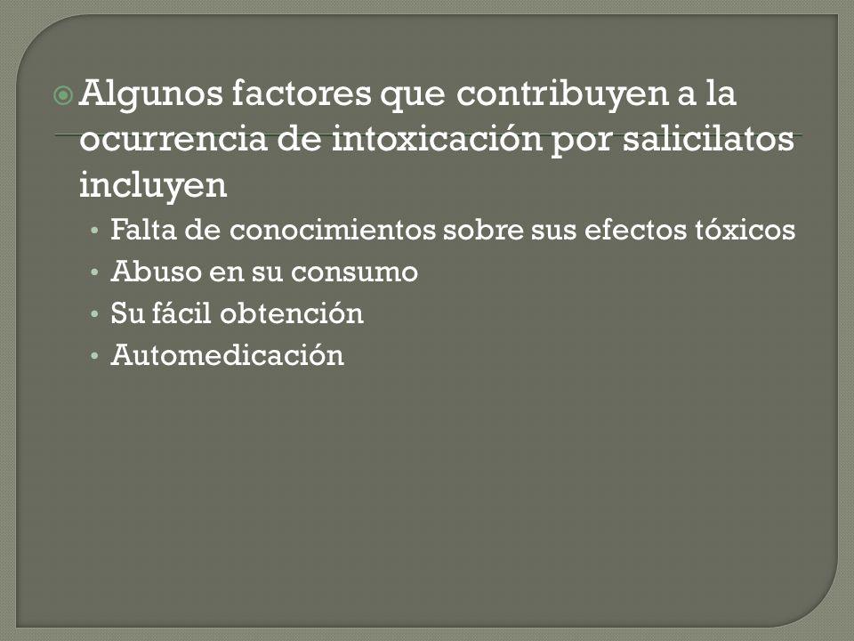 Algunos factores que contribuyen a la ocurrencia de intoxicación por salicilatos incluyen Falta de conocimientos sobre sus efectos tóxicos Abuso en su