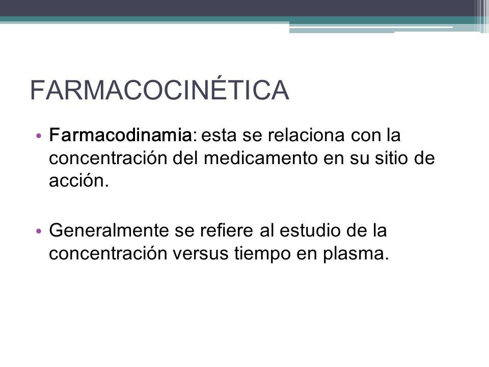FARMACOCINÉTICA Farmacodinamia: esta se relaciona con la concentración del medicamento en su sitio de acción. Generalmente se refiere al estudio de la