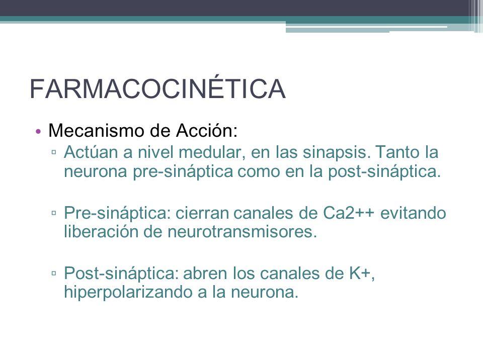 FARMACOCINÉTICA Mecanismo de Acción: Actúan a nivel medular, en las sinapsis. Tanto la neurona pre-sináptica como en la post-sináptica. Pre-sináptica:
