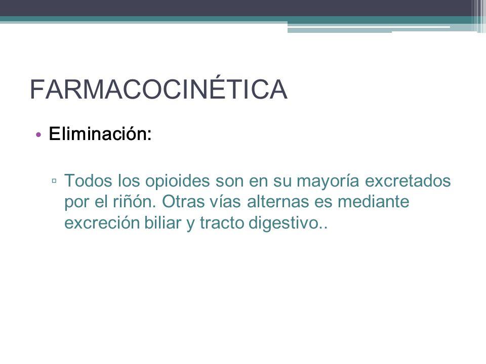 FARMACOCINÉTICA Eliminación: Todos los opioides son en su mayoría excretados por el riñón. Otras vías alternas es mediante excreción biliar y tracto d