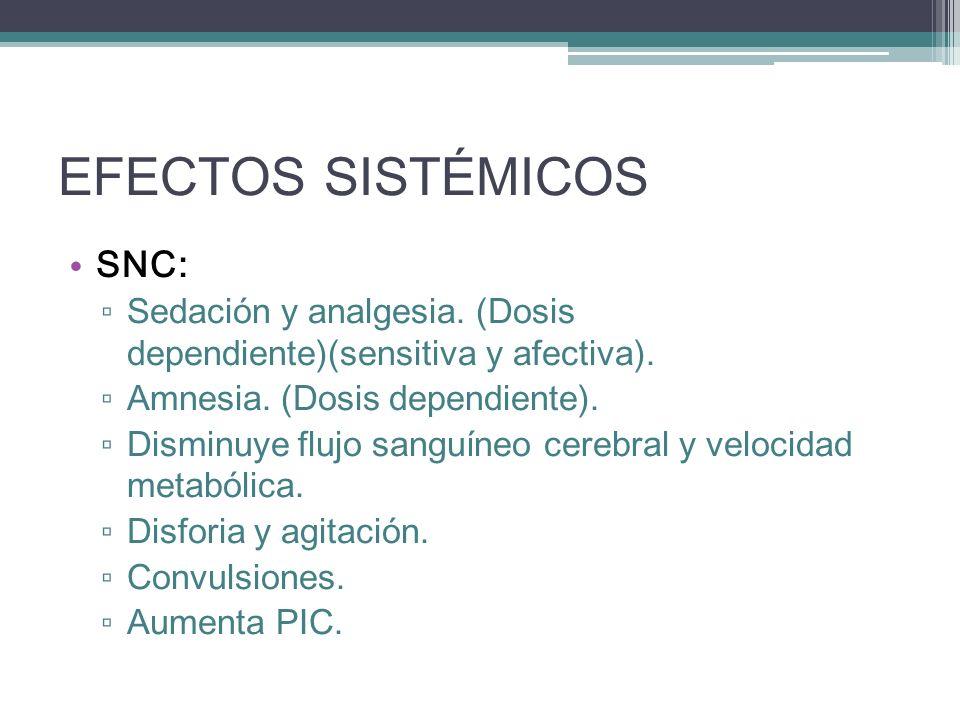 EFECTOS SISTÉMICOS SNC: Sedación y analgesia. (Dosis dependiente)(sensitiva y afectiva). Amnesia. (Dosis dependiente). Disminuye flujo sanguíneo cereb