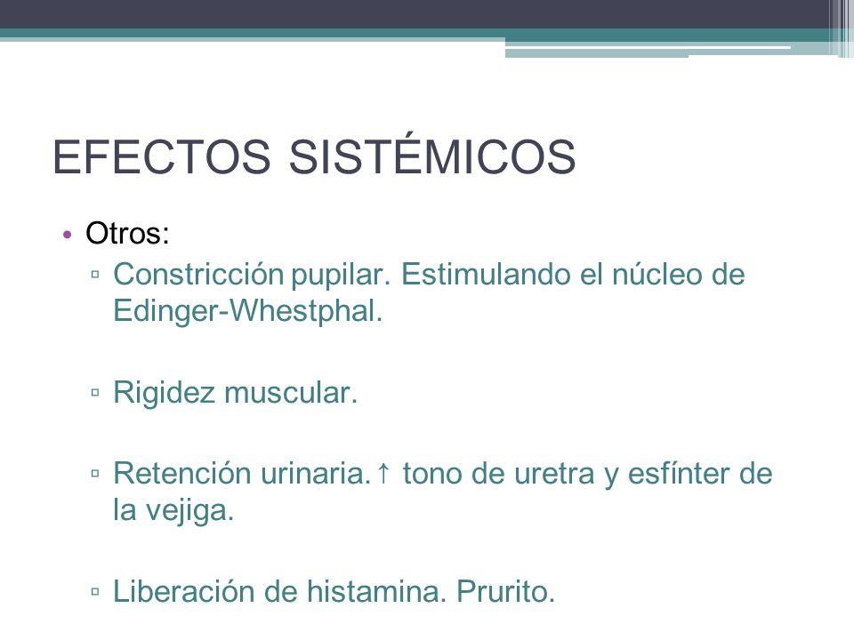 EFECTOS SISTÉMICOS Otros: Constricción pupilar. Estimulando el núcleo de Edinger-Whestphal. Rigidez muscular. Retención urinaria. tono de uretra y esf
