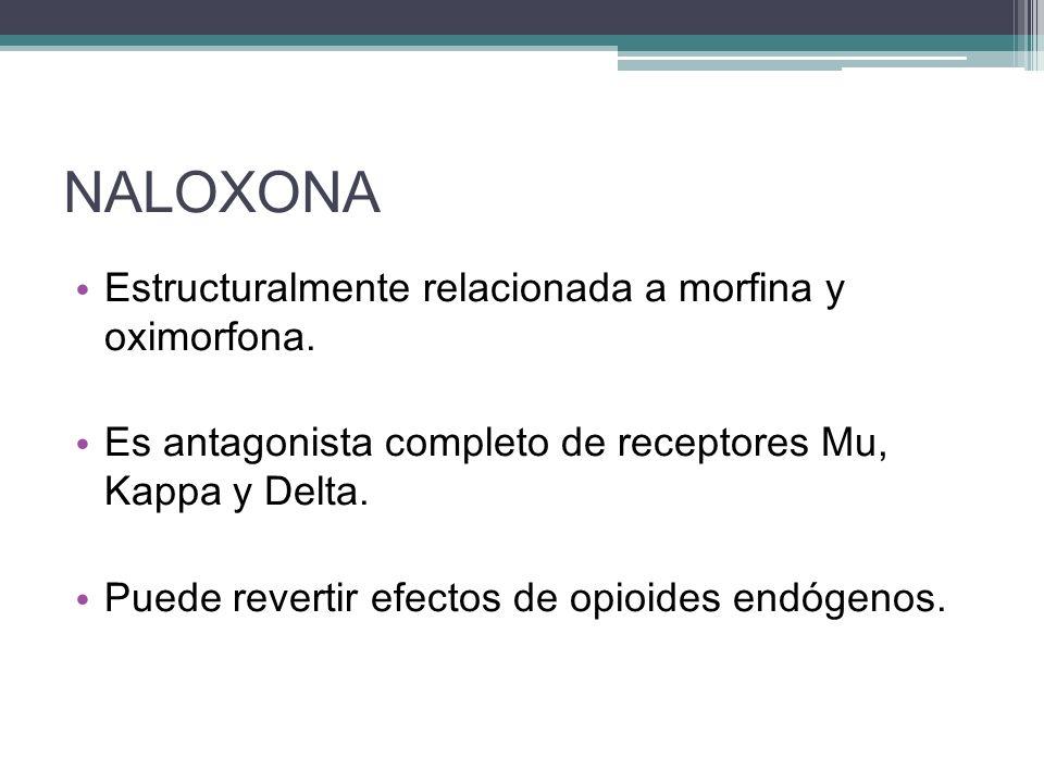 NALOXONA Estructuralmente relacionada a morfina y oximorfona. Es antagonista completo de receptores Mu, Kappa y Delta. Puede revertir efectos de opioi