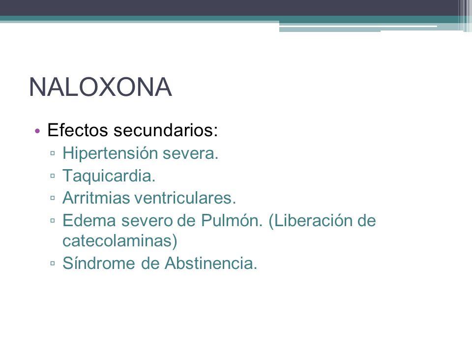 NALOXONA Efectos secundarios: Hipertensión severa. Taquicardia. Arritmias ventriculares. Edema severo de Pulmón. (Liberación de catecolaminas) Síndrom