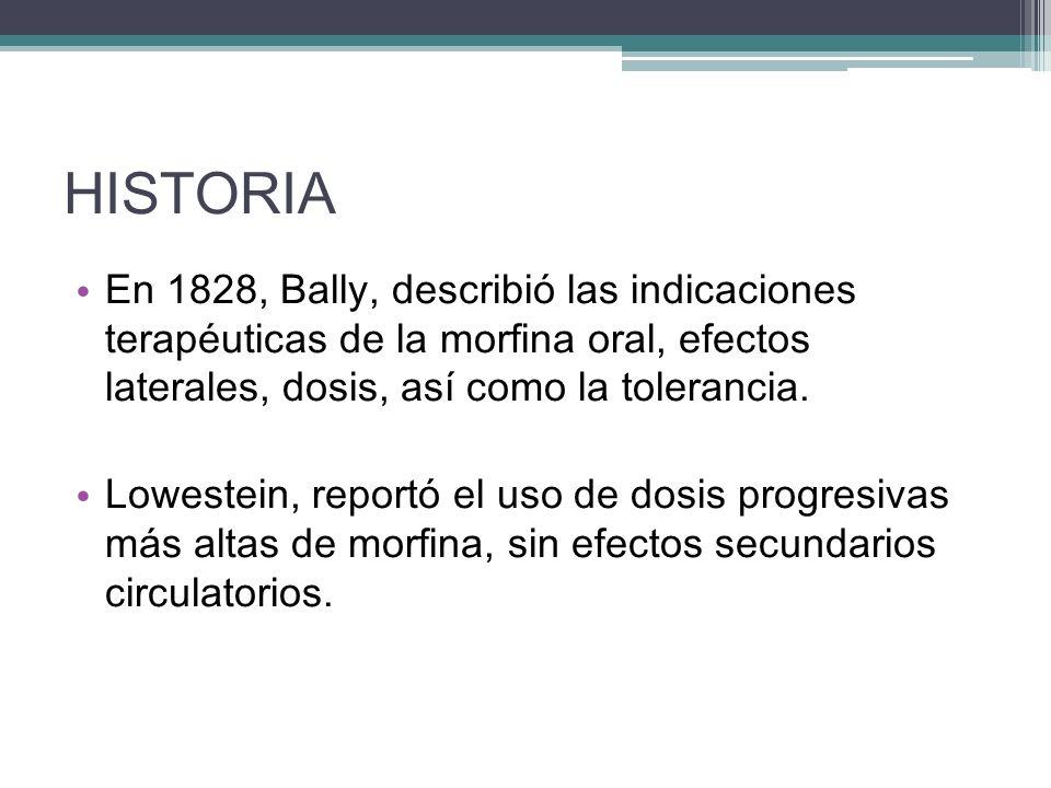 HISTORIA En 1828, Bally, describió las indicaciones terapéuticas de la morfina oral, efectos laterales, dosis, así como la tolerancia. Lowestein, repo