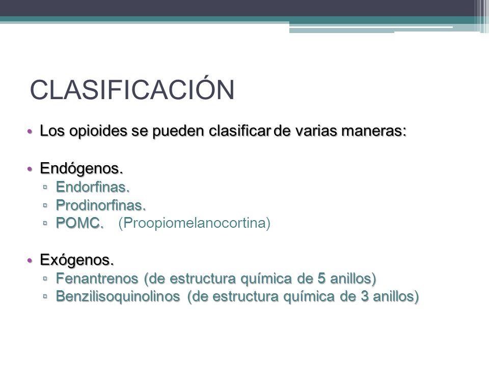 CLASIFICACIÓN Los opioides se pueden clasificar de varias maneras: Los opioides se pueden clasificar de varias maneras: Endógenos. Endógenos. Endorfin