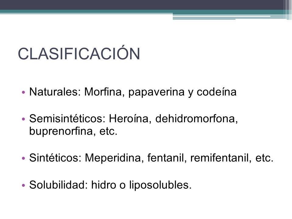 CLASIFICACIÓN Naturales: Morfina, papaverina y codeína Semisintéticos: Heroína, dehidromorfona, buprenorfina, etc. Sintéticos: Meperidina, fentanil, r