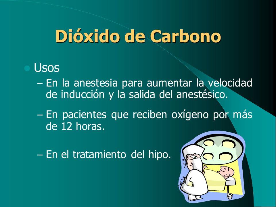 Dióxido de Carbono Usos – En la anestesia para aumentar la velocidad de inducción y la salida del anestésico. – En pacientes que reciben oxígeno por m