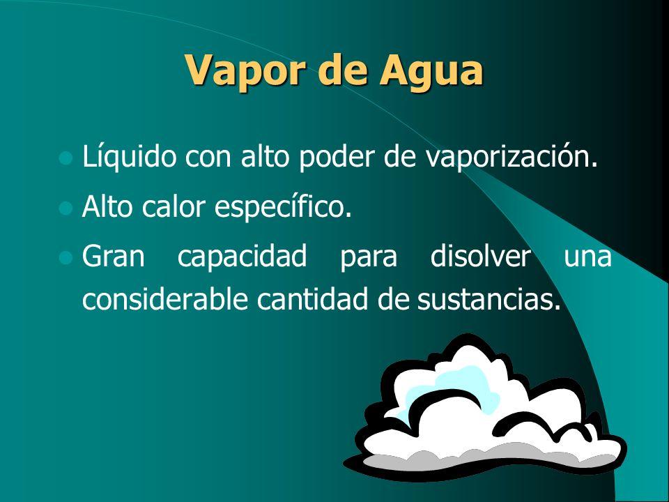 Vapor de Agua Líquido con alto poder de vaporización. Alto calor específico. Gran capacidad para disolver una considerable cantidad de sustancias.