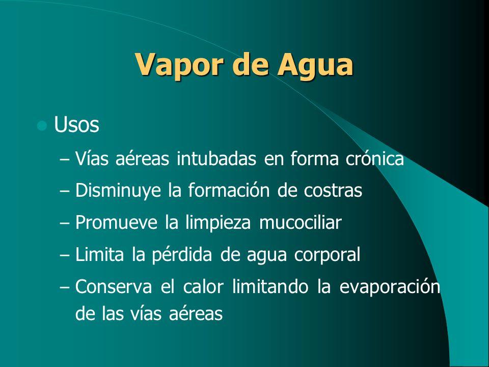 Vapor de Agua Usos – Vías aéreas intubadas en forma crónica – Disminuye la formación de costras – Promueve la limpieza mucociliar – Limita la pérdida