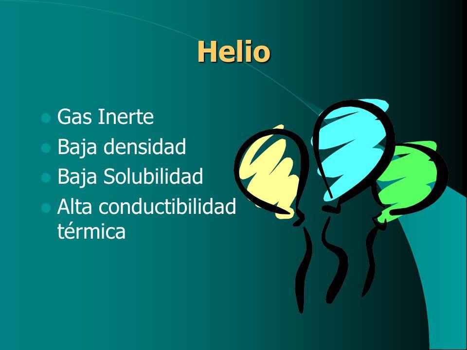Helio Gas Inerte Baja densidad Baja Solubilidad Alta conductibilidad térmica
